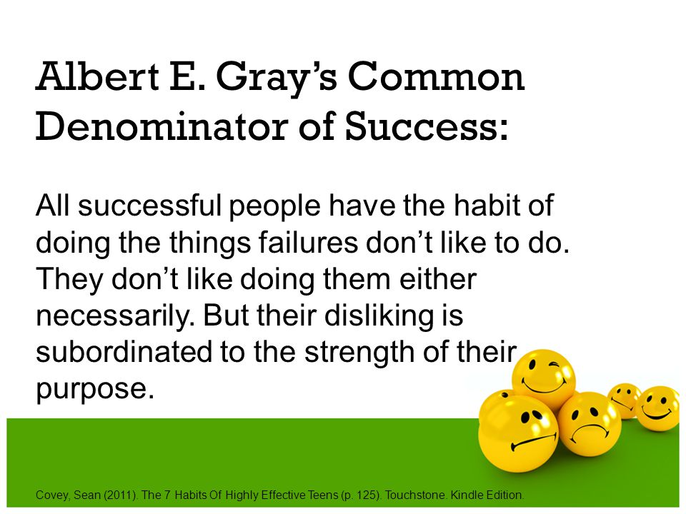 Albert E. Gray's Common Denominator of Success: