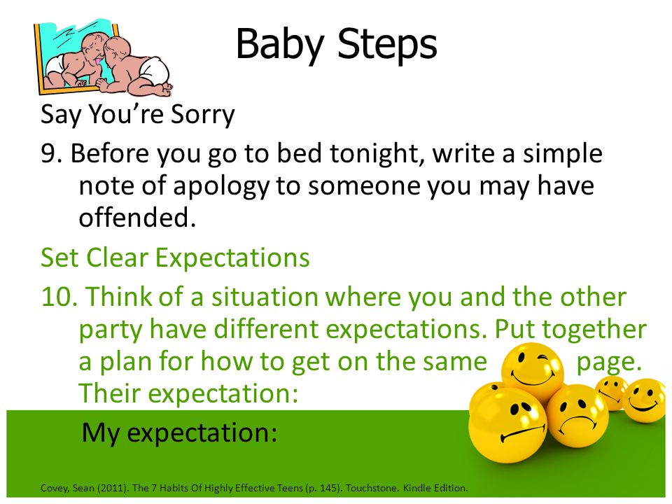 Baby Steps Say You're Sorry