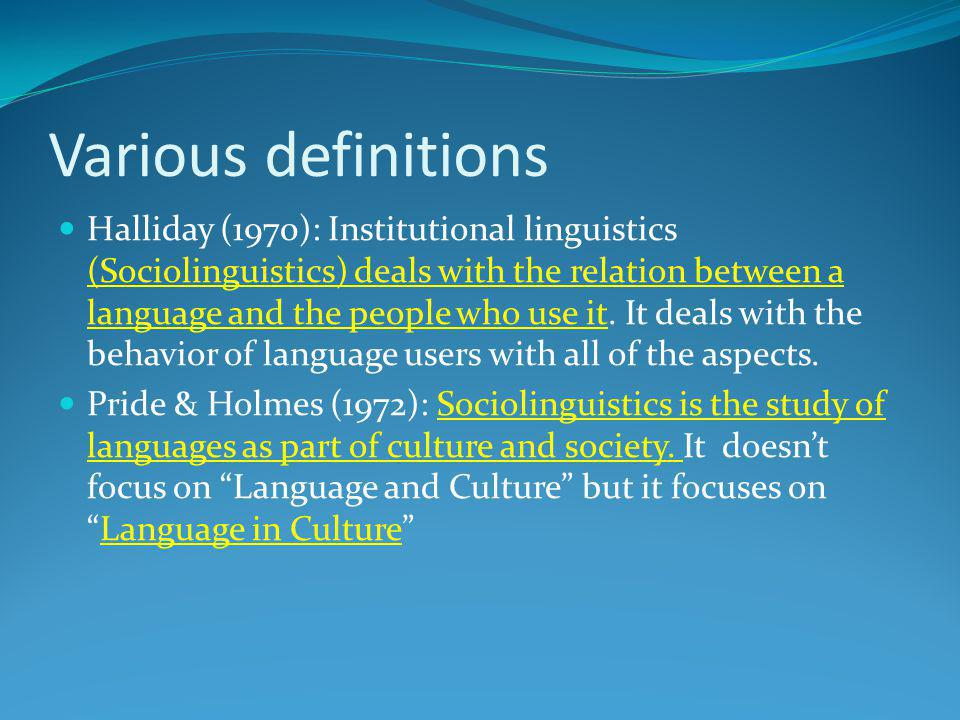 Various definitions