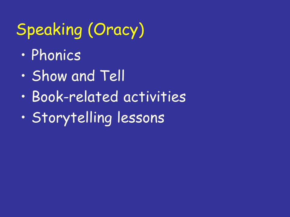 Speaking (Oracy) Phonics Show and Tell Book-related activities
