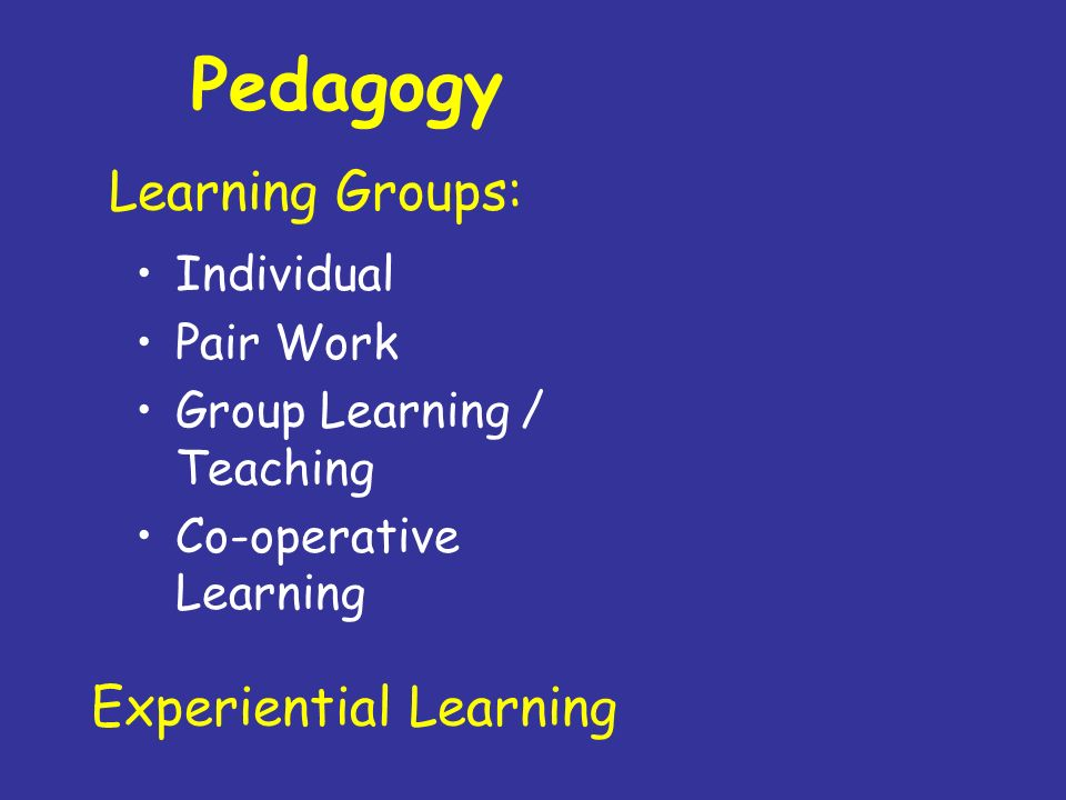 Pedagogy Learning Groups: Experiential Learning Individual Pair Work