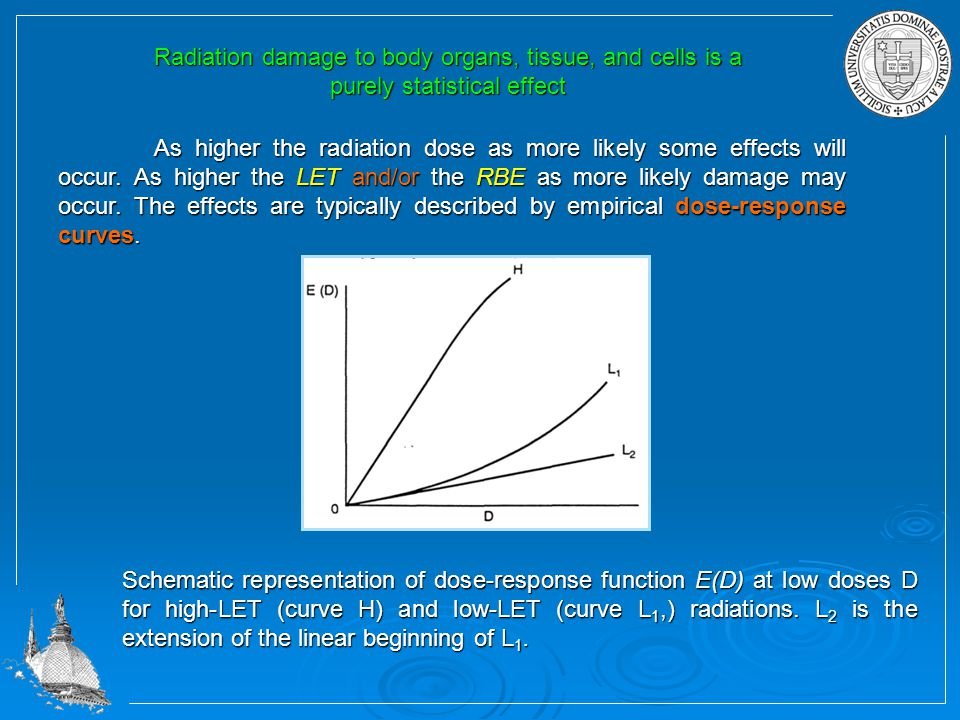 Radiation damage to body organs, tissue, and cells is a purely statistical effect