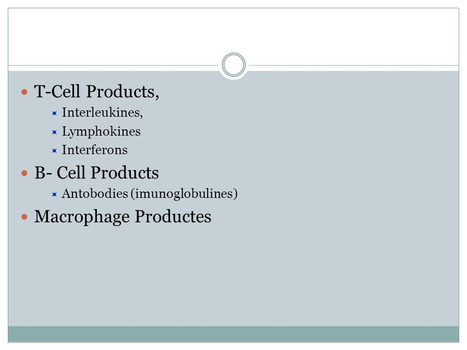 T-Cell Products, B- Cell Products Macrophage Productes Interleukines,