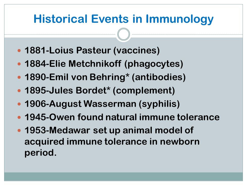 Historical Events in Immunology