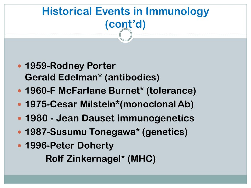 Historical Events in Immunology (cont'd)