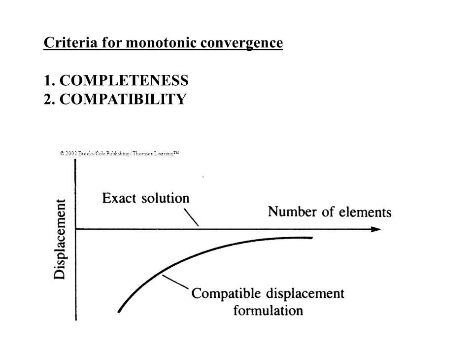 Criteria for monotonic convergence 1. COMPLETENESS 2. COMPATIBILITY