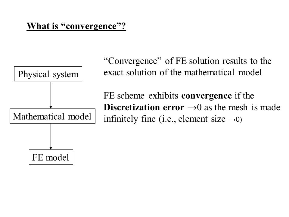 What is convergence Convergence of FE solution results to the exact solution of the mathematical model.