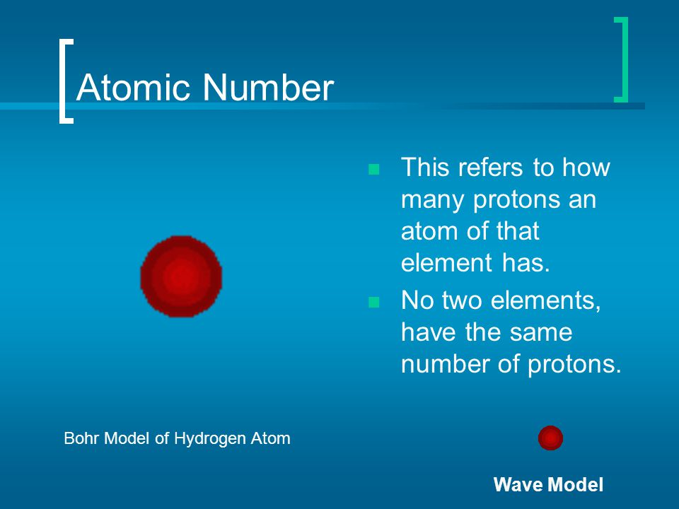 Atomic Number This refers to how many protons an atom of that element has. No two elements, have the same number of protons.