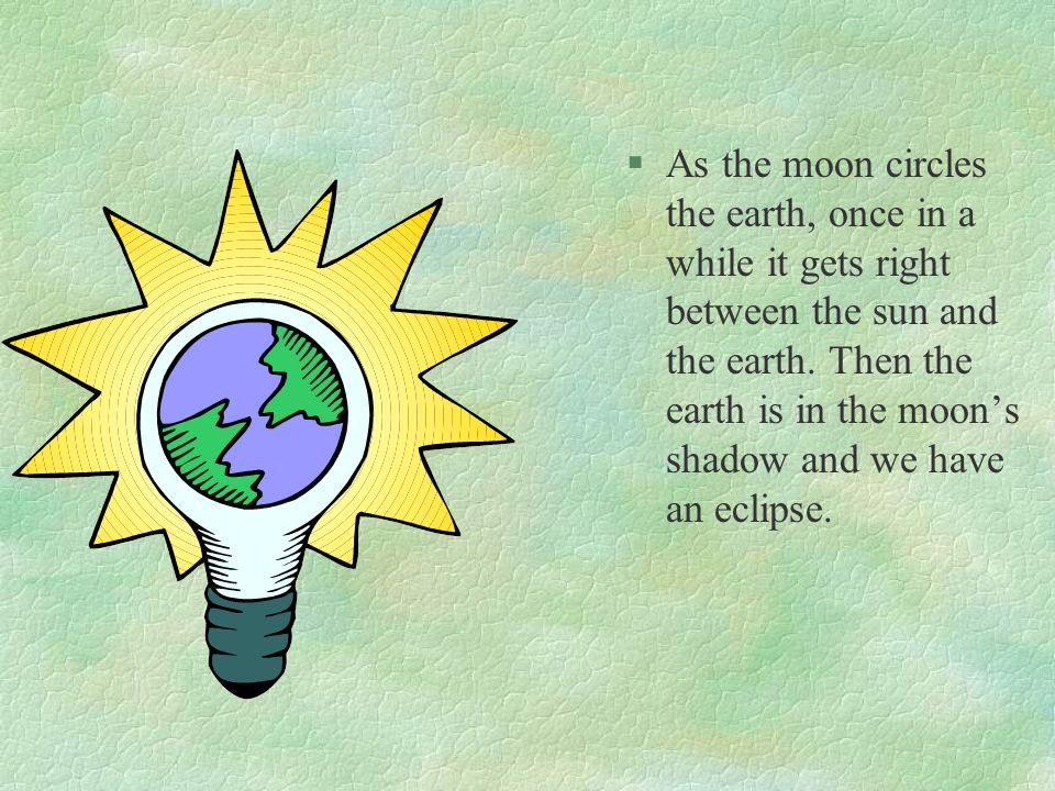 As the moon circles the earth, once in a while it gets right between the sun and the earth.