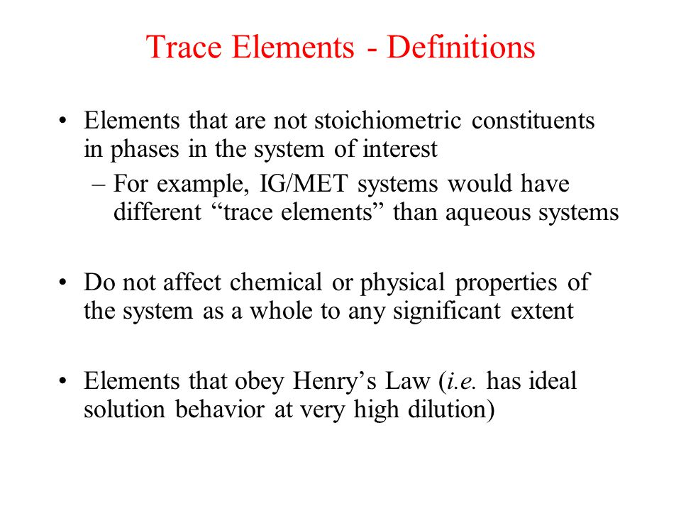Trace Elements - Definitions