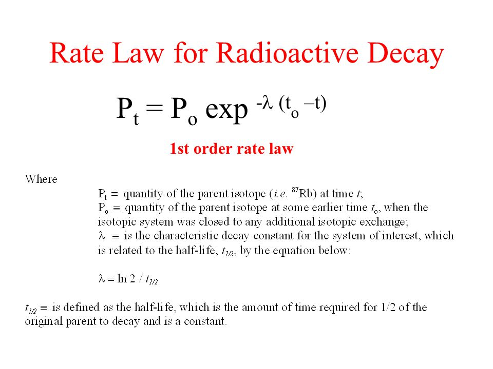 Rate Law for Radioactive Decay