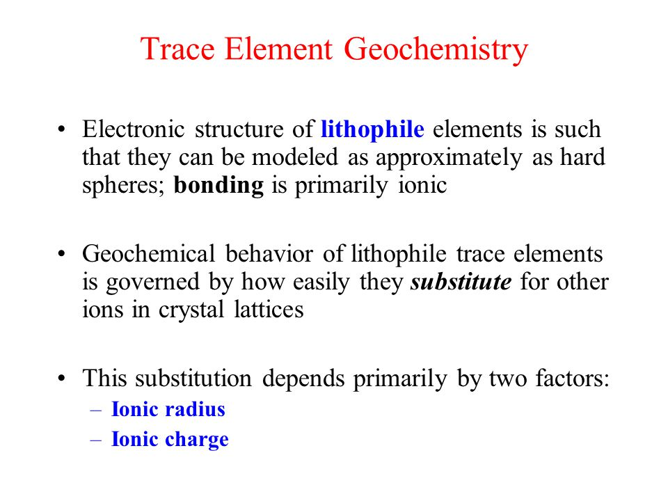 Trace Element Geochemistry