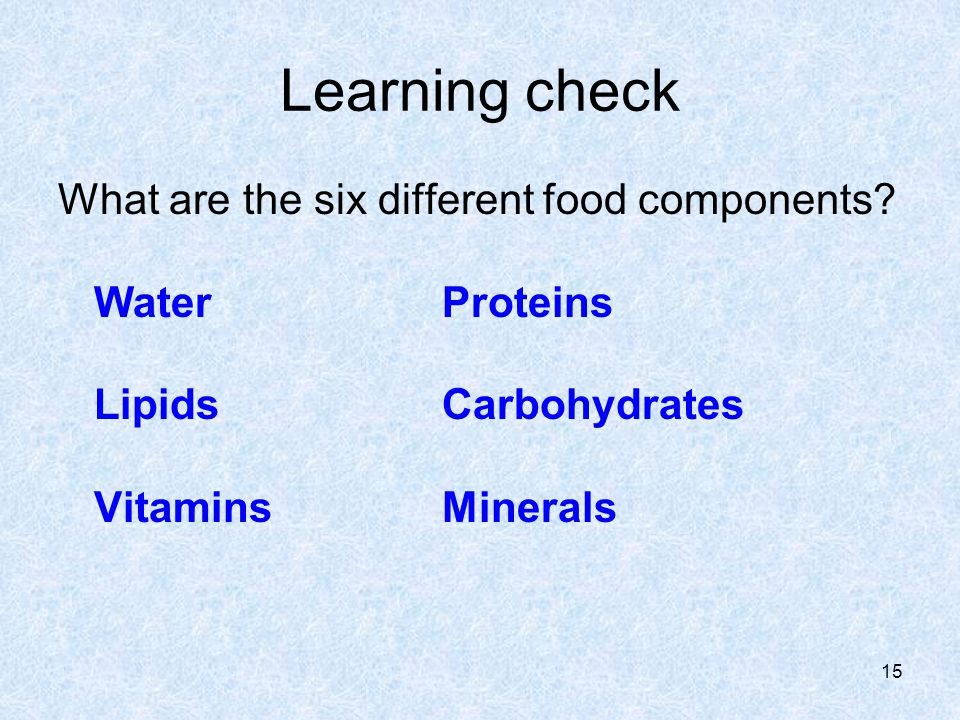 Learning check What are the six different food components.