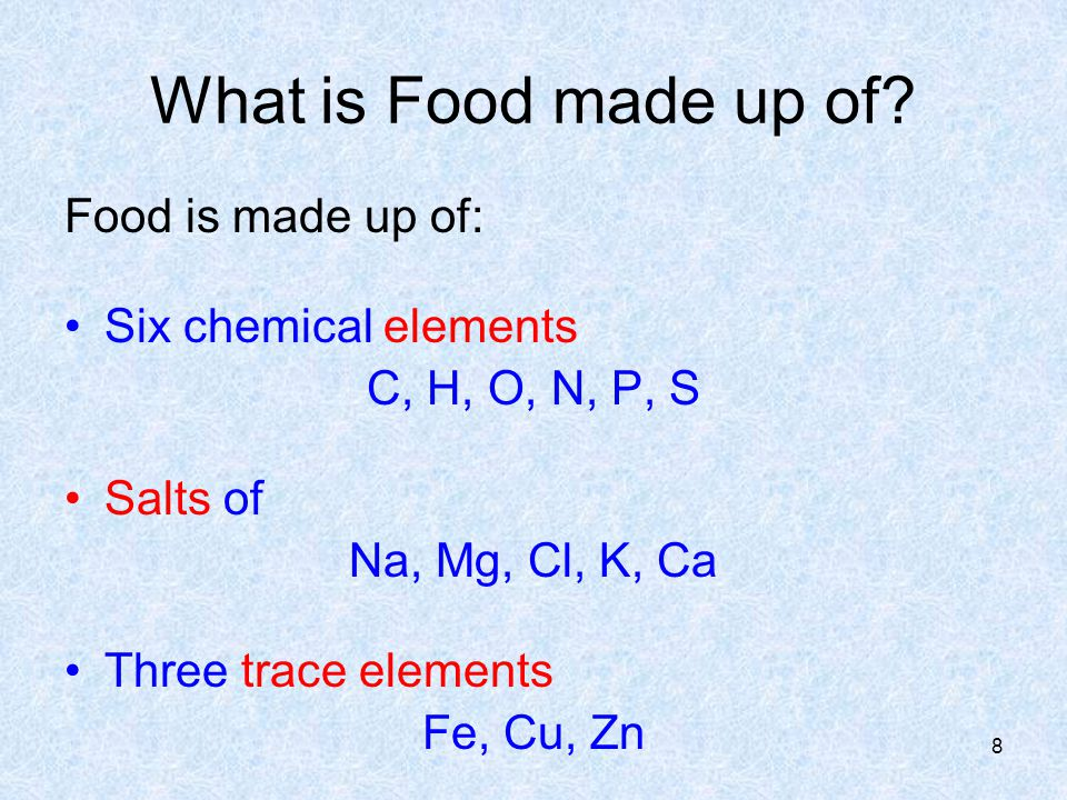 What is Food made up of Food is made up of: Six chemical elements