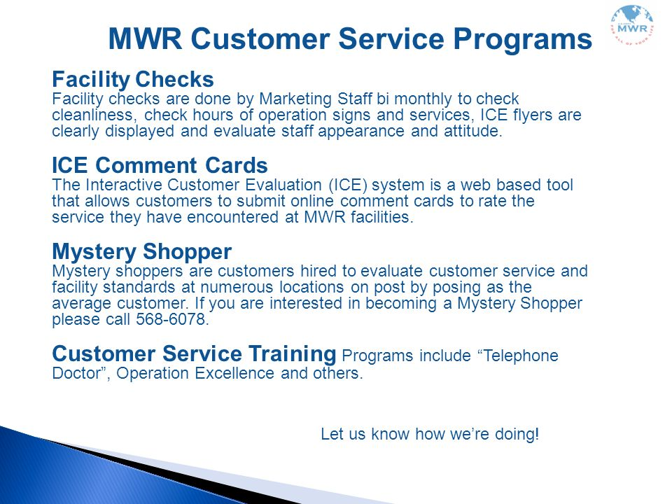 MWR Customer Service Programs