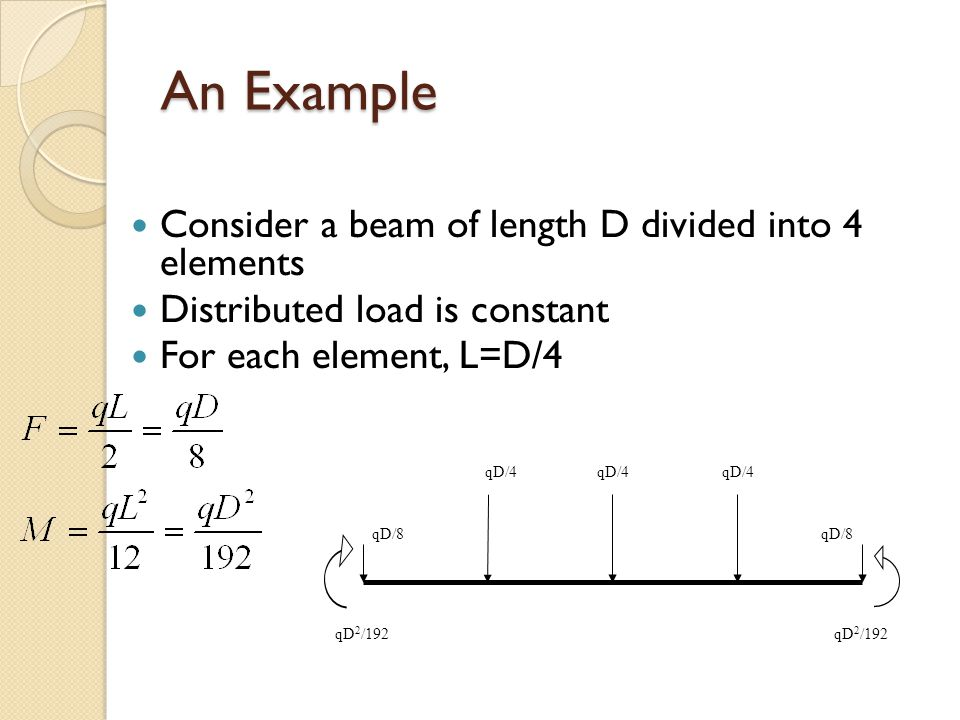 An Example Consider a beam of length D divided into 4 elements