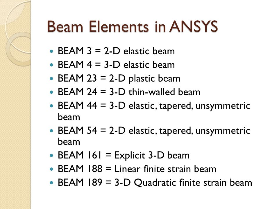 Beam Elements in ANSYS BEAM 3 = 2-D elastic beam