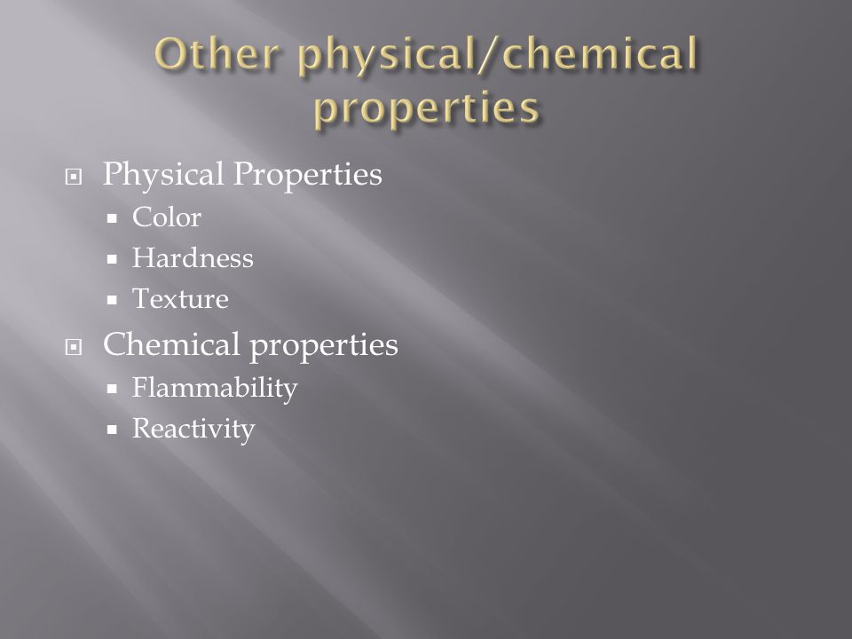 Other physical/chemical properties