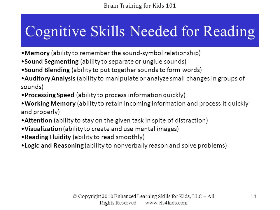 Cognitive Skills Needed for Reading