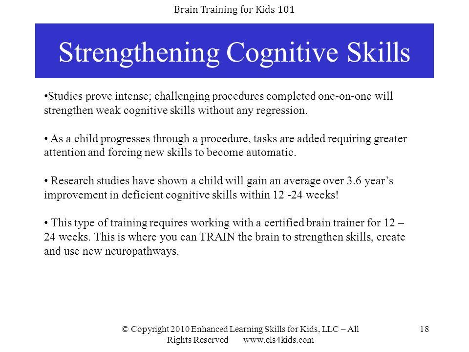 Strengthening Cognitive Skills