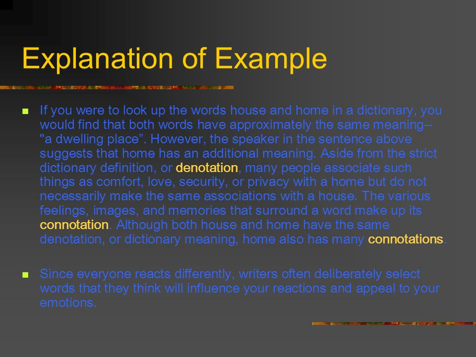 Explanation of Example