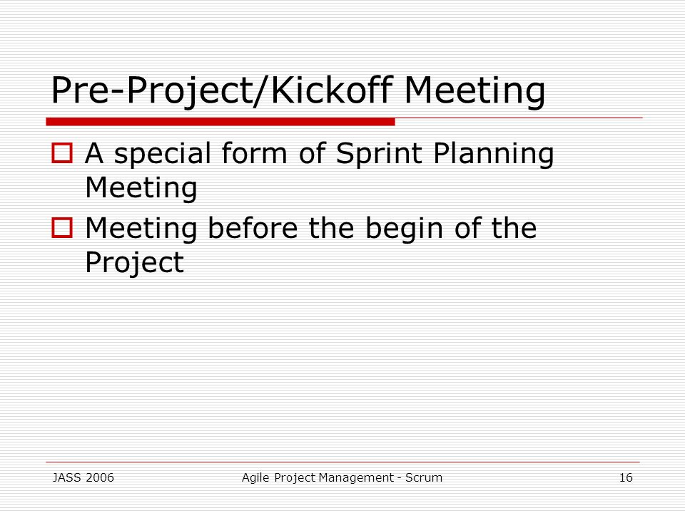 Pre-Project/Kickoff Meeting