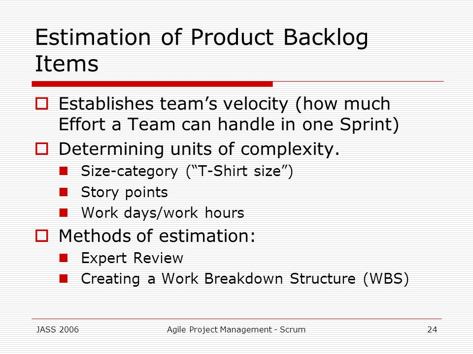 Estimation of Product Backlog Items