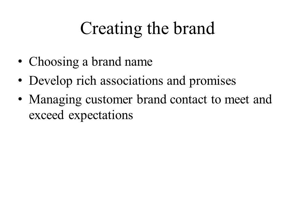 Creating the brand Choosing a brand name