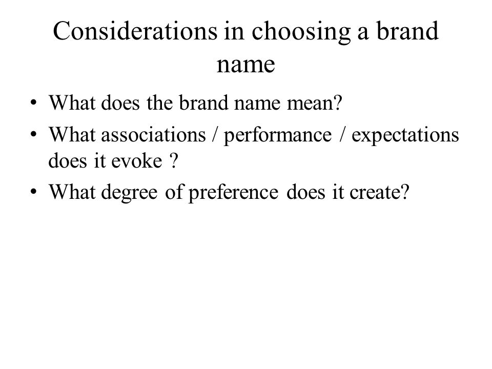 Considerations in choosing a brand name