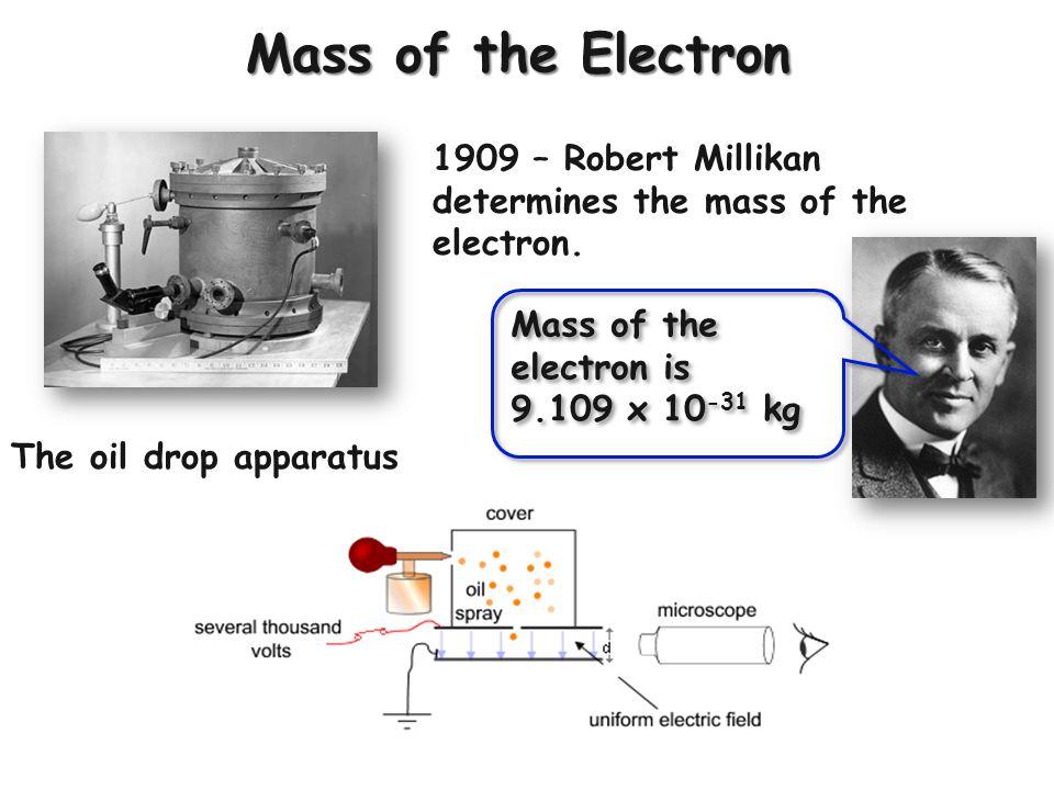 Mass of the Electron 1909 – Robert Millikan determines the mass of the electron. Mass of the electron is.