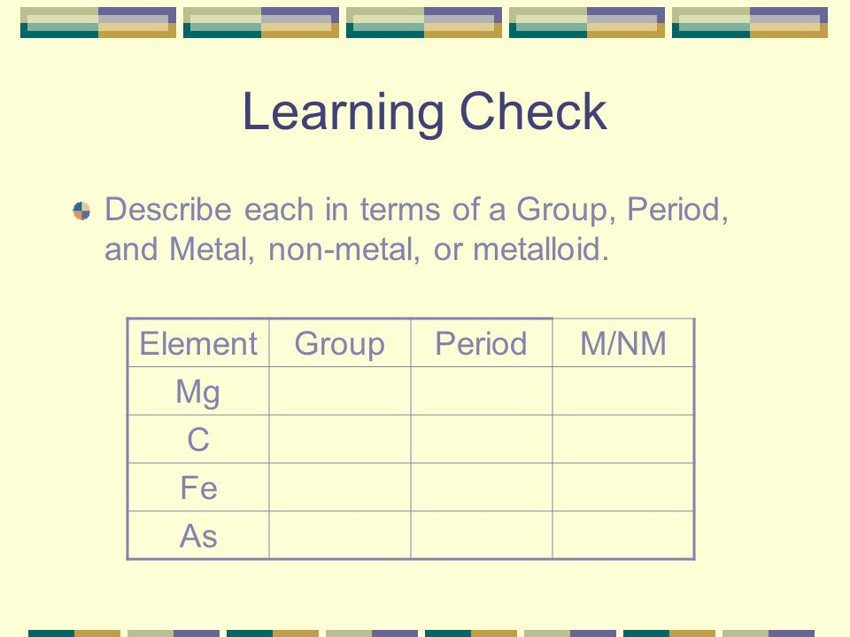 Learning Check Describe each in terms of a Group, Period, and Metal, non-metal, or metalloid. Element.