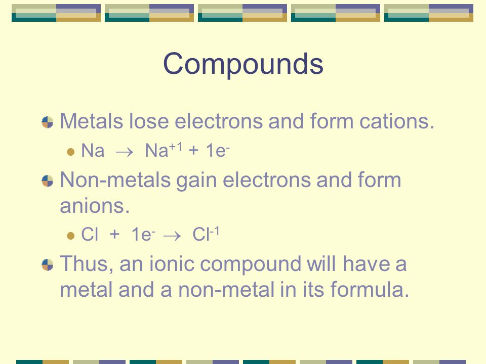 Compounds Metals lose electrons and form cations.