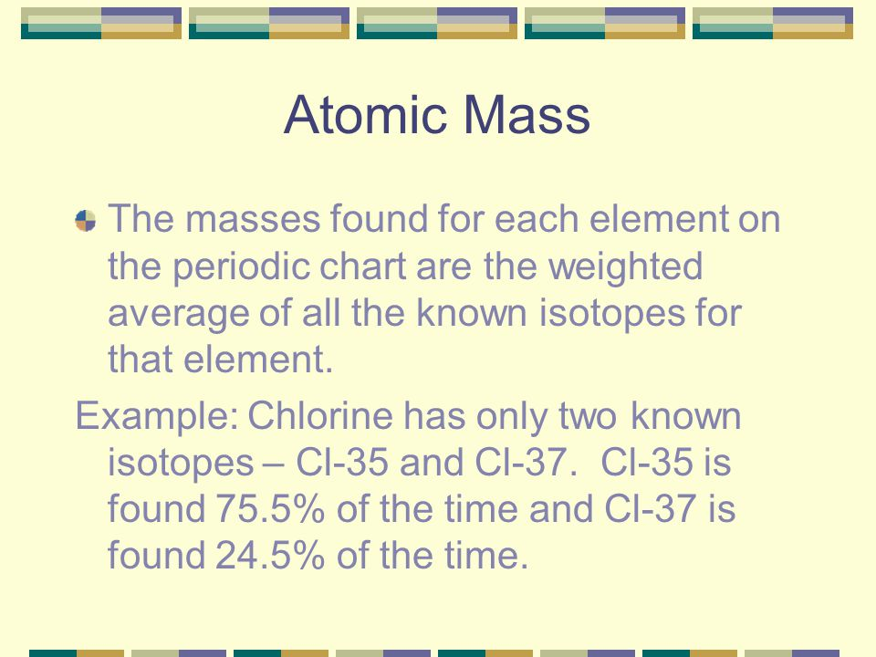 Atomic Mass The masses found for each element on the periodic chart are the weighted average of all the known isotopes for that element.