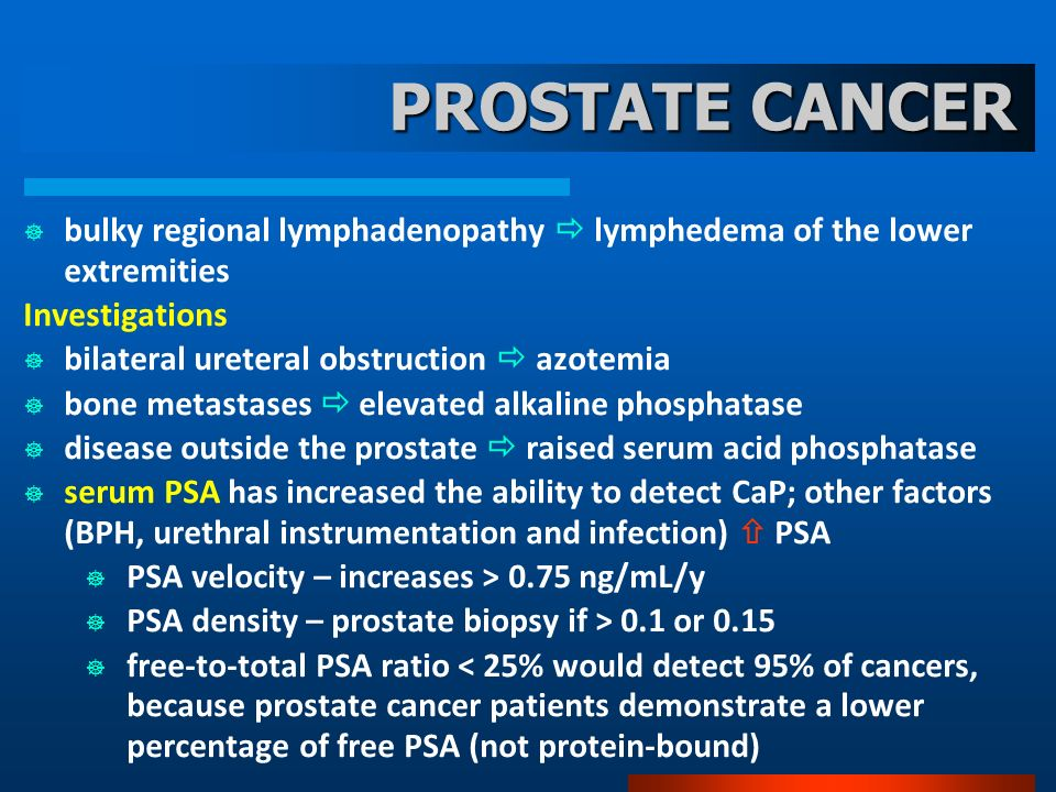 PROSTATE CANCER bulky regional lymphadenopathy  lymphedema of the lower extremities. Investigations.
