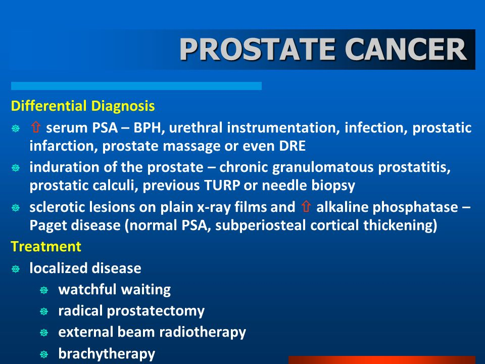 PROSTATE CANCER Differential Diagnosis