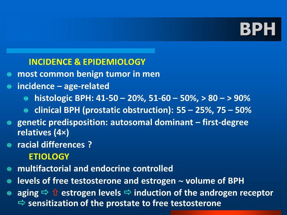 BPH INCIDENCE & EPIDEMIOLOGY most common benign tumor in men