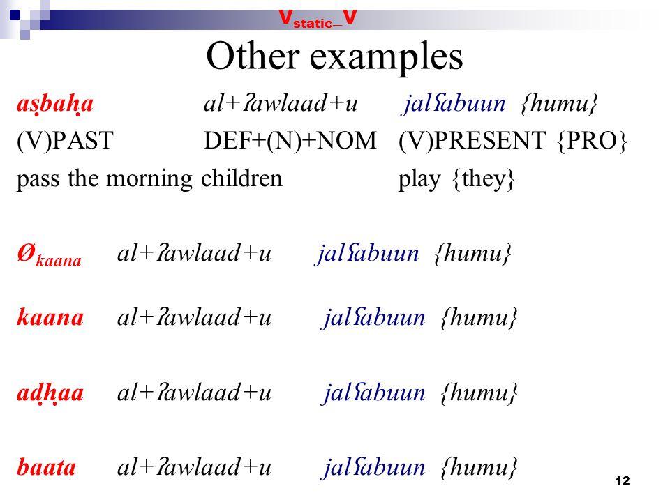 Other examples asbaha al+ʔawlaad+u jalʕabuun {humu}