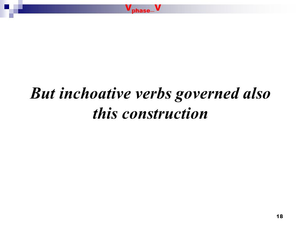But inchoative verbs governed also this construction