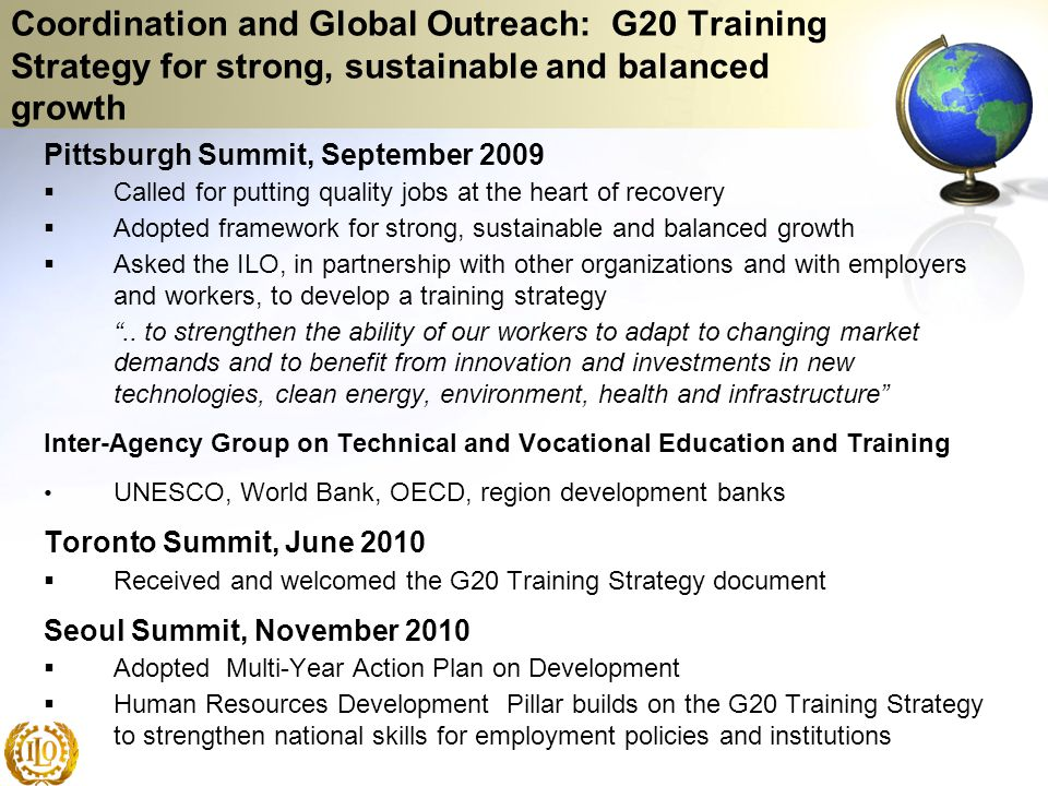 Coordination and Global Outreach: G20 Training Strategy for strong, sustainable and balanced growth