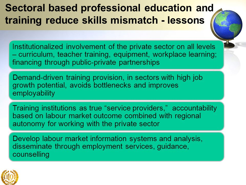 Sectoral based professional education and training reduce skills mismatch - lessons