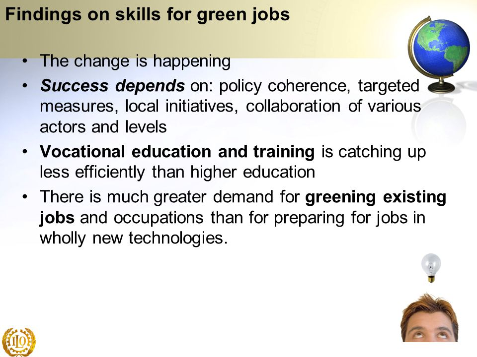 Findings on skills for green jobs