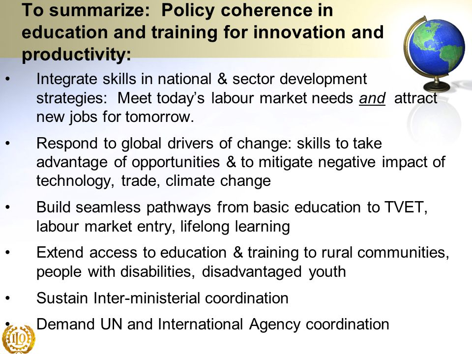 To summarize: Policy coherence in education and training for innovation and productivity:
