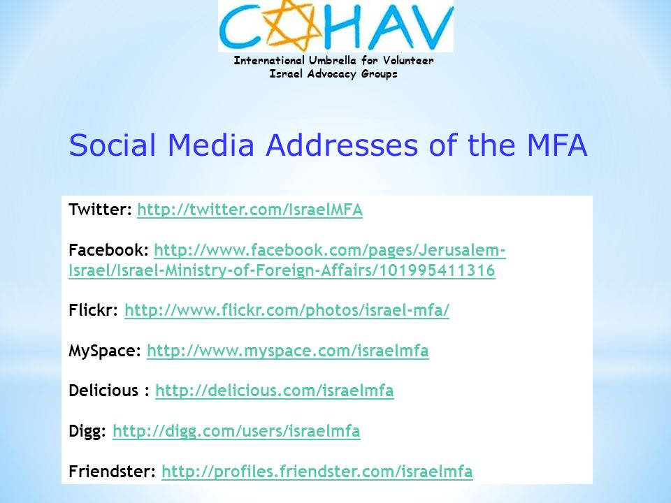 Social Media Addresses of the MFA