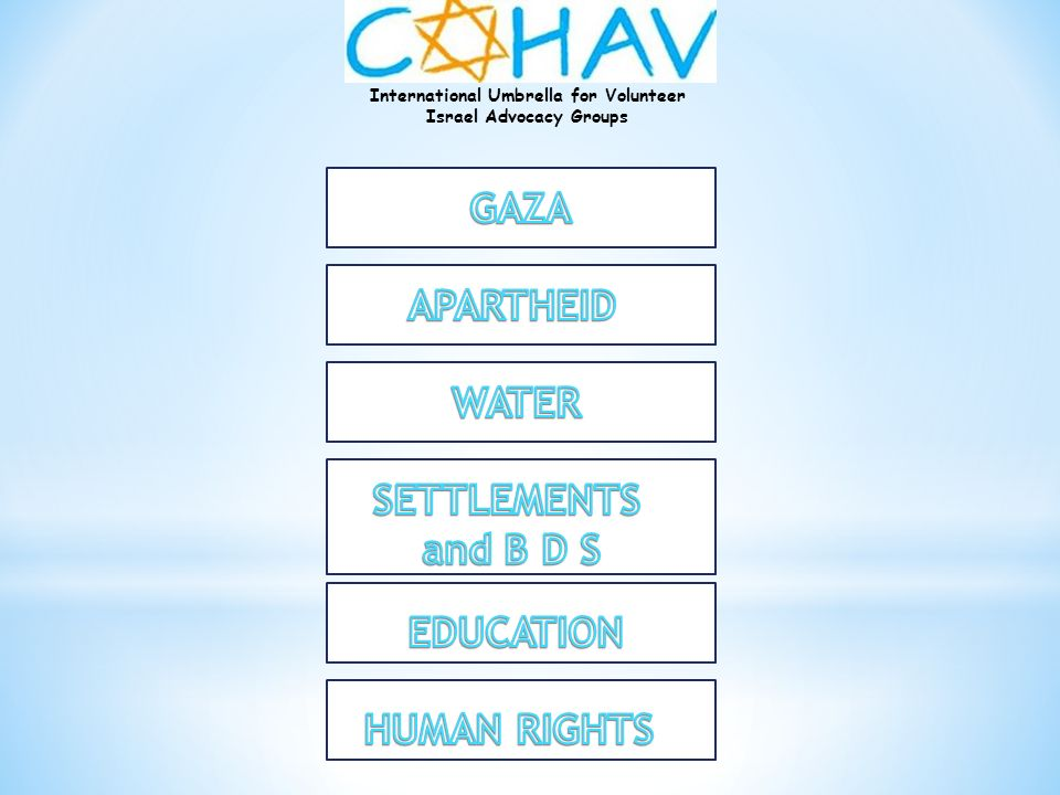 GAZA APARTHEID WATER SETTLEMENTS and B D S EDUCATION HUMAN RIGHTS