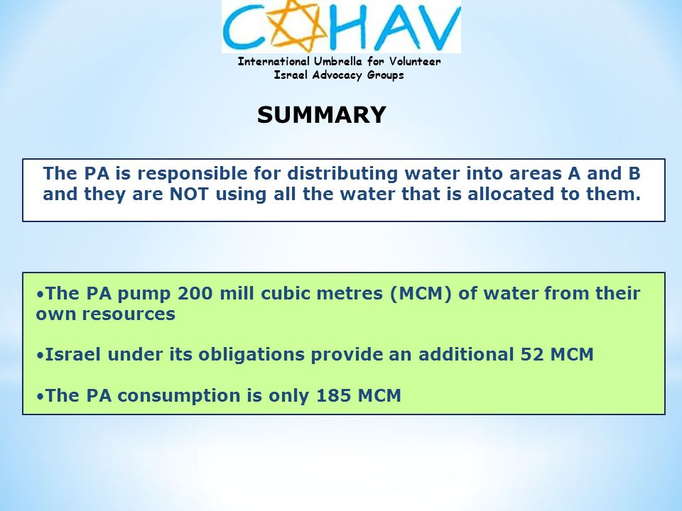 SUMMARY The PA is responsible for distributing water into areas A and B. and they are NOT using all the water that is allocated to them.