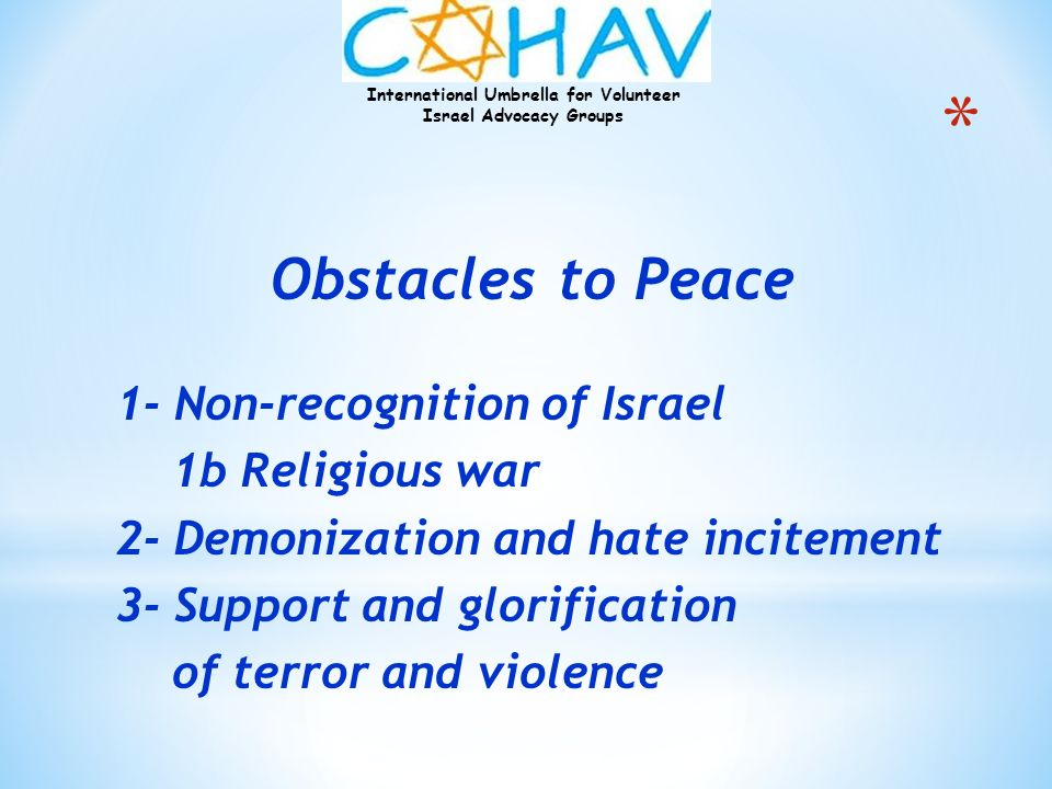 Obstacles to Peace 1- Non-recognition of Israel 1b Religious war