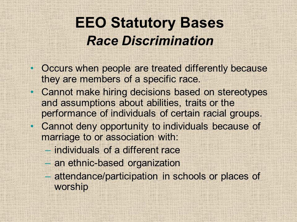 EEO Statutory Bases Race Discrimination