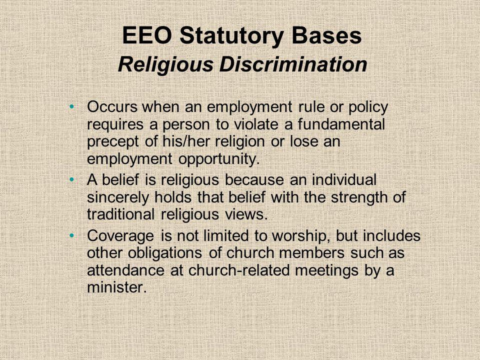 EEO Statutory Bases Religious Discrimination