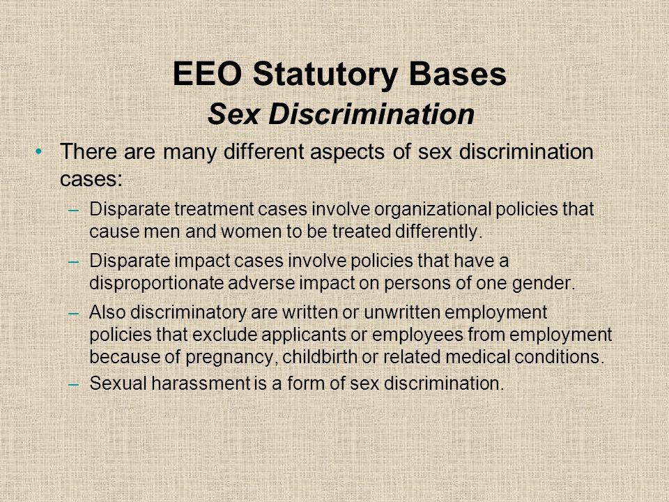 EEO Statutory Bases Sex Discrimination