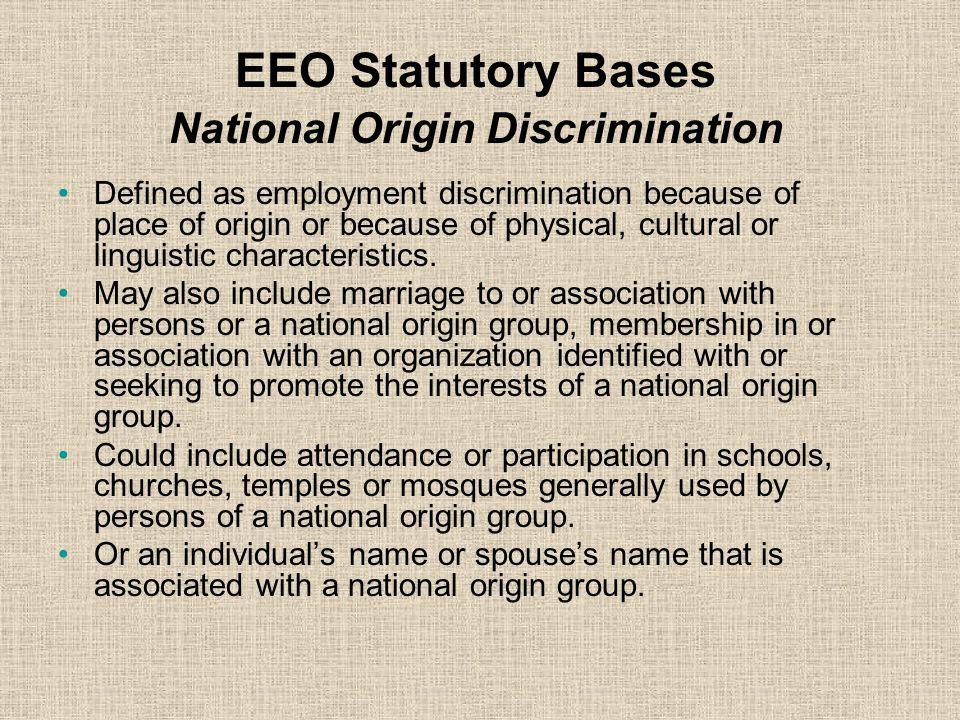 EEO Statutory Bases National Origin Discrimination